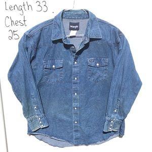 Wrangler Western XL Blue Denim pearl snap shirt